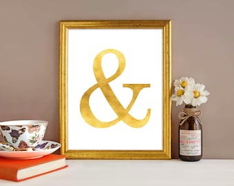Downloadable print, Gold foil effect Ampersand, 'and symbol', Minimalistic art, printable wall art, Wall decor