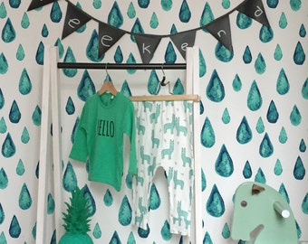 Turquoise teardrops wall mural, Watercolor wallpaper for kids room, Reusable, Removable #94
