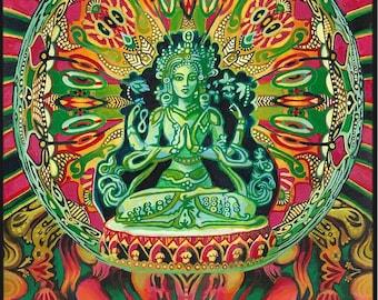 Guanyin Goddess of Compassion Original Acrylic Painting Psychedelic Goddess Art Kwan Yin