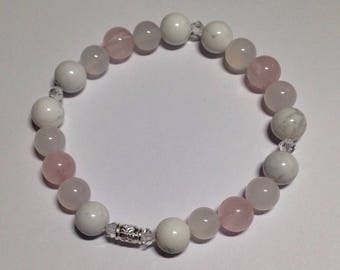 Love Notes. Rose quartz, howlite, silver bracelet.