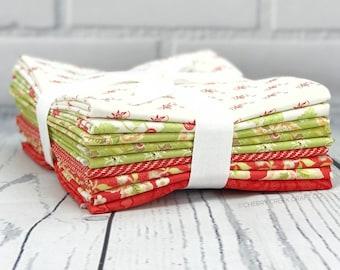 Hazel & Plum Red/Green Half Yard Bundle - Moda Fabric - Fig Tree Quilts - Hazel and Plum Fabric - Moda Bundle - 9 pieces