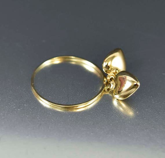 Sale Gold Heart Charms Dangle Ring 14K Gold Charm Ring