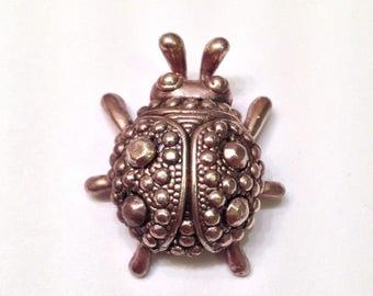 Sterling Silver Scarab Beetle- Vintage Designer Signed Detailed Pendant