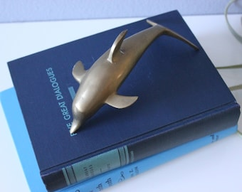 Vintage Solid Brass Dolphin Paperweight