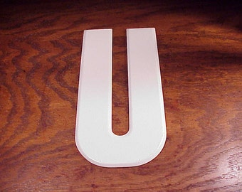 Vintage White Letter U 10 Inches Tall Metal Store Marquee Sign, Capital Letter