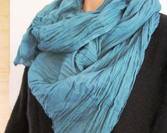 Large scarf / turquoise cotton voile