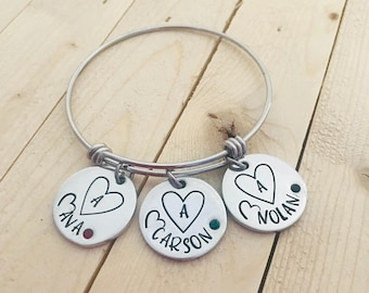 Hand Stamped Mom or Grandma Bracelet, Personalized Bracelet, Grandmother Bracelet, Grandma, Adjustable Bangle, Mother's Day, Mother