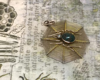 Antique Victorian 9ct Turquoise and Seed Pearl Spider Web Pendant