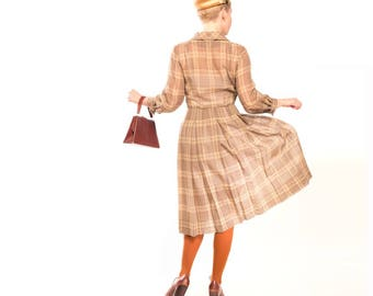 50s Tan & Green Sheer Voile Plaid Shirtwaist Dress with Pleated Skirt M