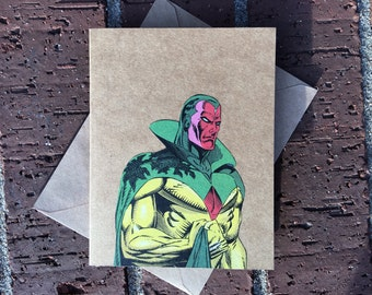 Marvel - Avengers Vintage VISION Comic Book Greeting Card (Blank)