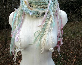 scrap fairy princess - enchanted and sparkling handknit art yarn fairy scarf