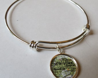New York Bracelet, Custom, BFF Gift, Brooklyn, college, stack bracelet, travel jewelry, for Daughter, distance bff, customized jewelry