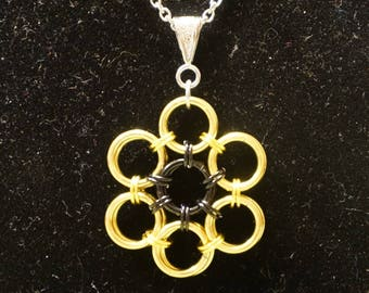 Bright and anodized aluminum 18 inch flower necklace