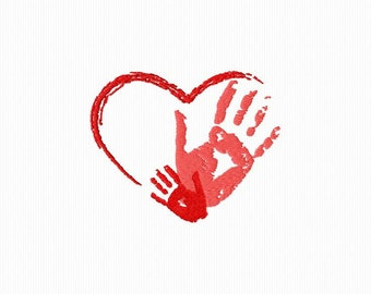 Embroidery of a heart with two hands for machine embroidery format 4 x 4
