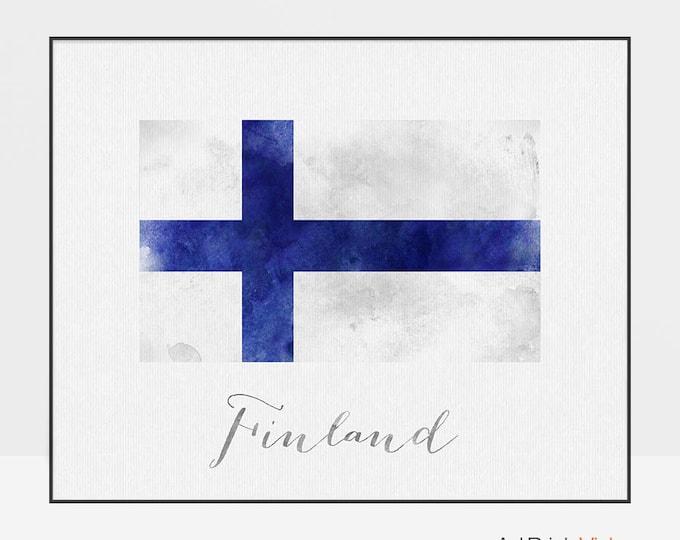 Finland flag print, Finland art poster, watercolor, Travel, wall art, watercolor flag, office decor, Home Decor, gift, ArtPrintsVicky