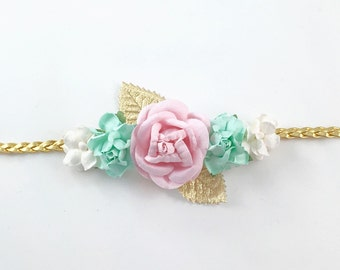 Mint Headband, Pink headband, White Headband, Gold Headband, Boho Headband,  Pink Headband, flower girl Headband, Mint and Pink Headband