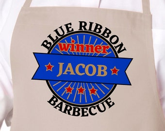 Blue Ribbon Barbecue Winner Personalized Grilling Apron, Gift for Dad, Father's Day Gift, Mens BBQ Apron, Gift for Him APR-018