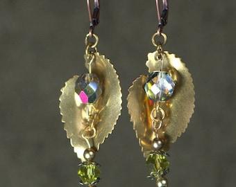 Brass Leaf Earrings, Crystal Earrings, Copper Earrings, Lever Back Hooks,  One-of-a-Kind