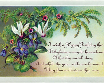 Birthday Card Violets Cyclamen Flowers Repro Greeting Card