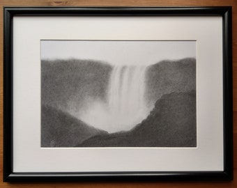 The Falls - waterfall, landscape, charcoal drawing, charcoal art, landscape art, nature, original art, impressionist art, ready to hang
