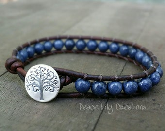 LATE SHIP genuine sapphire leather wrap  single wrap fine silver tree of life button boho  yoga  earthy stacking