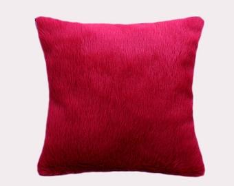 "Decorative Pillow case, Cherry color faux Fur fabric Throw pillow case, fits 18"" x 18"" insert, Toss pillow case, Cushion case."