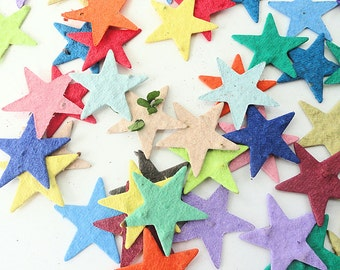 50 Plantable Seed Paper Stars  - diy party favors, place cards, save the date cards, creative invitations