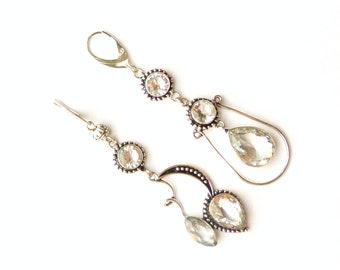 Cluster earrings Statement earrings White topaz earrings Mismatched earrings Chandelier earrings Asymmetric earrings Wedding earrings clear