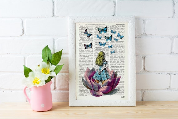 BOGO Sale Alice in Wonderland Looking for a blue butterfly Alice in Wonderland Collage Print on Vintage Dictionary Book ALW013b