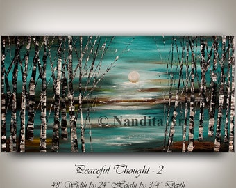 Abstract Painting, Landscape Painting on Canvas, Large Wall Art, Landscape Art Turquoise Acrylic Birch Tree Art for Home Decor By Nandita