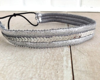 SALE // Silver Sequin Headband