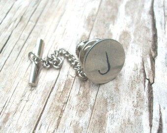 Personalized Initials Tie Tack Hand Stamped Tie Pin