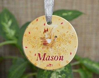Personalized Christmas Ornament, Baby First Christmas ornament, Custom Ornament, Newborn baby gift, Squirrel ornament, Christmas gift. o073