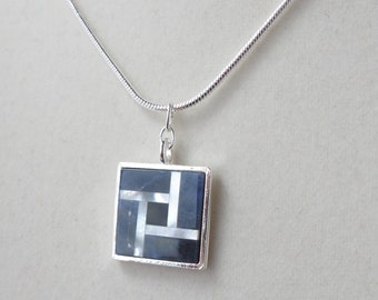 Sodalite and Inlaid Mother of Pearl Pendant on Silver-Plated Snake Chain