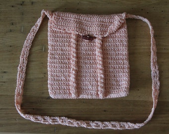 Rose Pink Cabled Crochet Purse Pouch Toggle Button