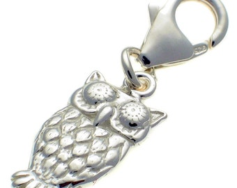 Welded Bliss Sterling 925 Solid Silver Owl Clip On Charm Pendant WBC1558