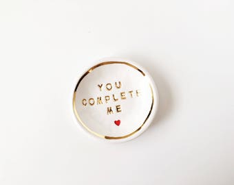 You Complete Me Ring Dish - Ceramic Ring Holder - Gold Ceramic Ring Dish