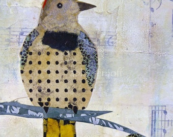Animal Art, Whimsical Art, Woodland Creature, Bird Lover Gift, Woodpecker, Unique Bird Art, Colorful Artwork, Art Print, Northern Flicker