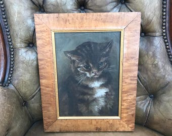 Adorable 19C Antique Kitten Painted On Canvas Under Glass Circa 1900 In Carved Maple Frame