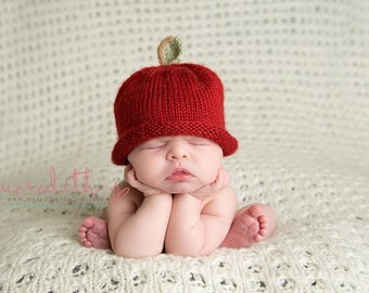 APPLE HAT, Baby Apple Hat, Baby Hat, Fruit Hat, Photo Prop, Red Hat, Preemie/12 Months