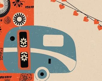 Orange Caravan Print