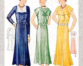 1920s 1930s dress vintage sewing pattern reproduction // double breasted // wide collar // PICK YOUR SIZE bust 32 34 36 38 40