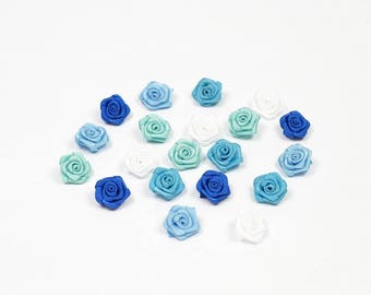 20 heads of 1.5 cm in diameter mixed color blue satin rose