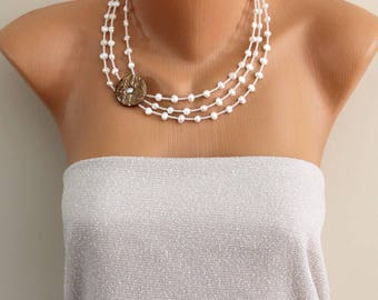 Beaded asymmetrical multistrand necklace with natural freshwater white pearls, necklace with pearls  and czech crystal beads and coconut
