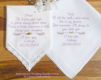 Wedding Gift for Mom and Dad Embroidered Wedding Handkerchief Wedding Gifts for Parents Wedding Gift from Daughter Gifts from Daughter Bride