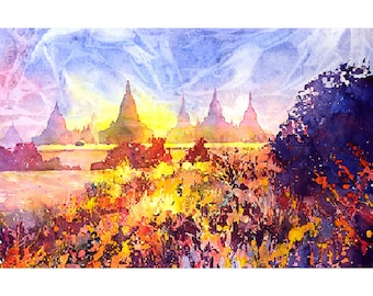 Ruins of Burmese temple in ancient city of Bagan (Pagan), Burma (Myanmar).  Art Myanmar Bagan painting.  Fine art watercolor painting