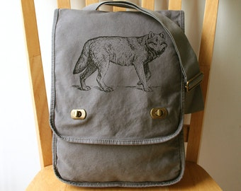 Wolf Canvas Messenger Bag Laptop Bag
