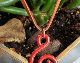 Bright Red Swirl Pendant Necklace