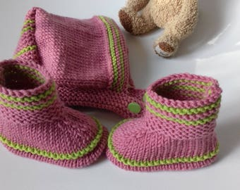 bonnet and shoe pink and lime baby