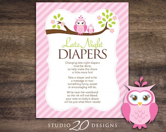 Instant Download Pink Owl Late Night Diapers, 8x10 Diaper Thoughts, Pink Brown Owl Baby Shower Decorate Diaper Activity for Girl 23E